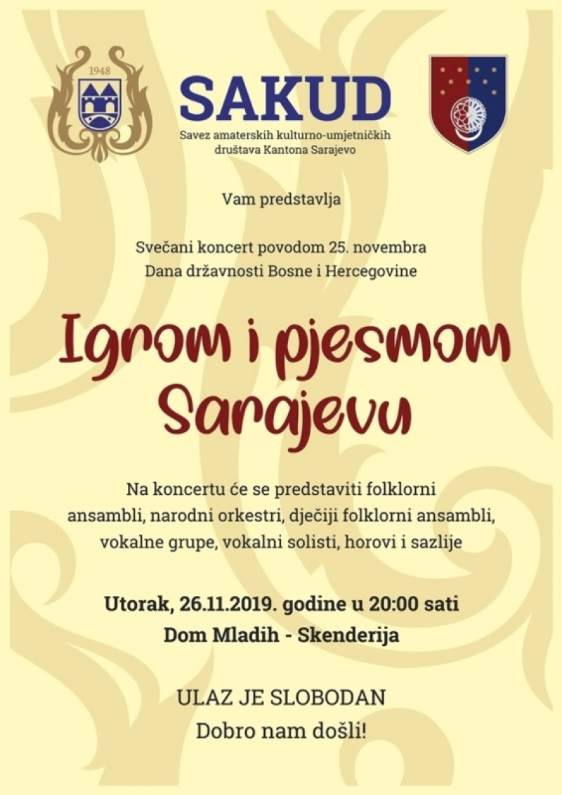 "Concert ""Dances and songs for Sarajevo"""